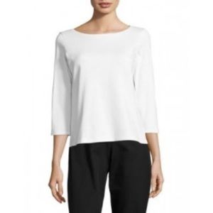 3/$50 Eileen Fisher white knit scoop top S